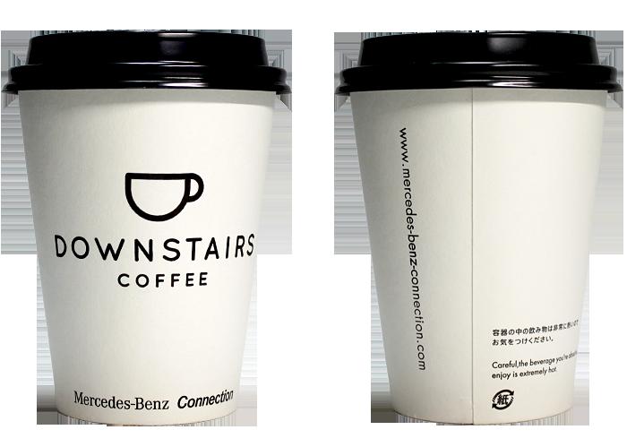 DOWNSTAIRS COFFEE(ダウンステアーズ コーヒー)のテイクアウト用コーヒーカップ
