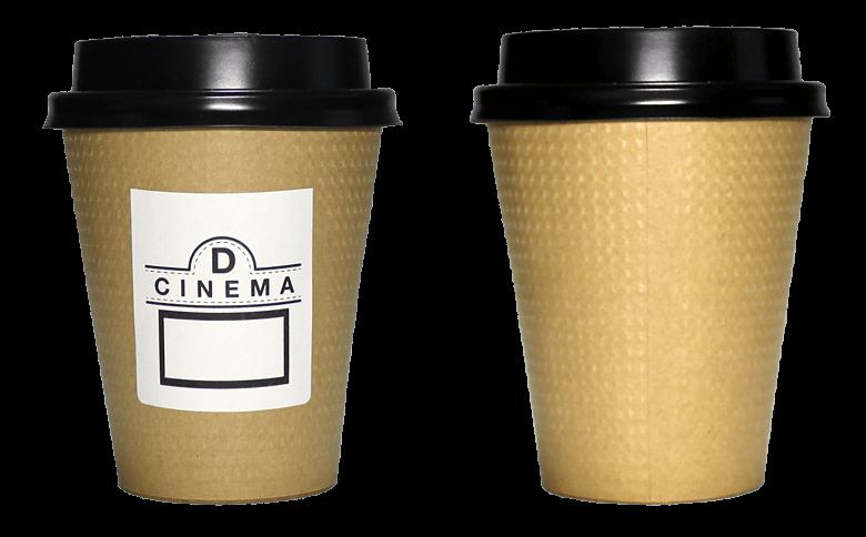D:CINEMA CAFE(ディーシネマ カフェ)のテイクアウト用コーヒーカップ