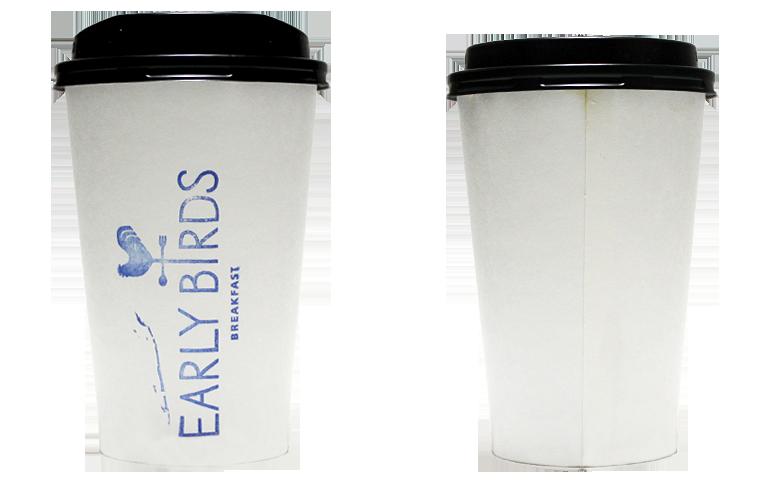 EARLY BIRDS BREAKFAST(アーリーバーズフレックファスト)のテイクアウト用コーヒーカップ