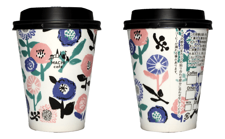 LAWSON MACHI café 2017年春限定(フラワー)(ローソン マチカフェ)のテイクアウト用コーヒーカップ