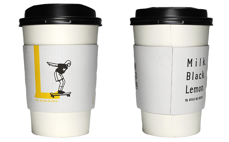 Milk. Black. Lemon. By GOGO NO KOCHA「L」(ミルクブラックレモンバイゴゴノコウチャ)のテイクアウト用コーヒーカップ