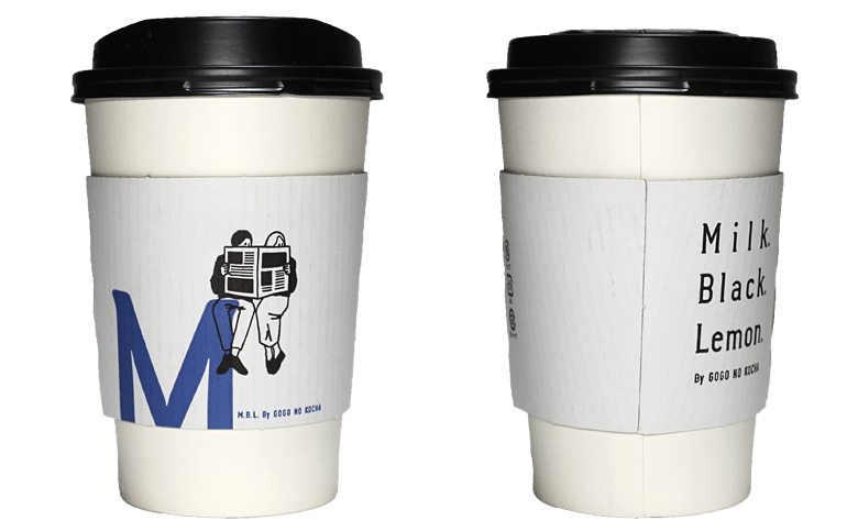 Milk. Black. Lemon. By GOGO NO KOCHA「M」(ミルクブラックレモンバイゴゴノコウチャ)のテイクアウト用コーヒーカップ