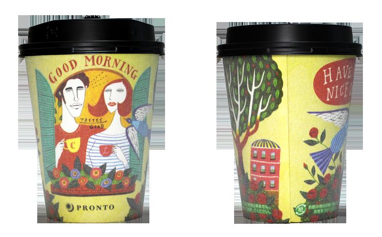 PRONTO あさのラテ(イフクカズヒコ デザイン)のテイクアウト用コーヒーカップ