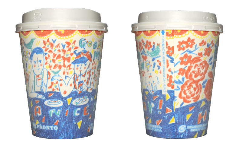 PRONTO あさのラテ(若林夏デザイン)のテイクアウト用コーヒーカップ
