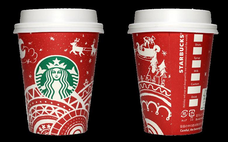 Starbucks Coffee 2016年ホリデーシーズン限定レッドカップ Sleigh Ride「ソリ」(South Korea)のテイクアウト用コーヒーカップ