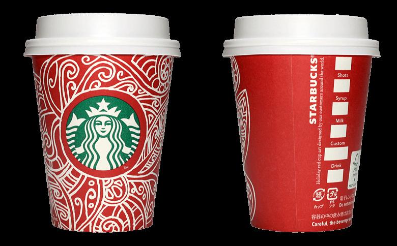Starbucks Coffee 2016年ホリデーシーズン限定レッドカップ Graphic Swirls「渦」(Canada)のテイクアウト用コーヒーカップ