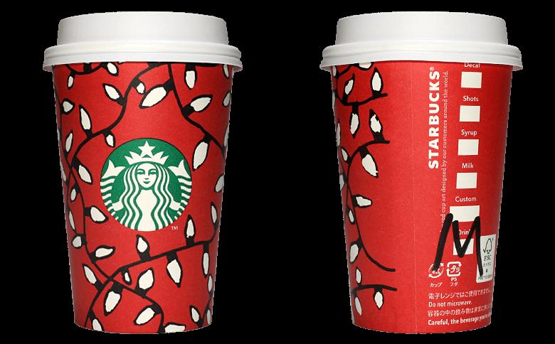 Starbucks Coffee 2016年ホリデーシーズン限定レッドカップ Holiday Lights「ライト」(United States)のテイクアウト用コーヒーカップ