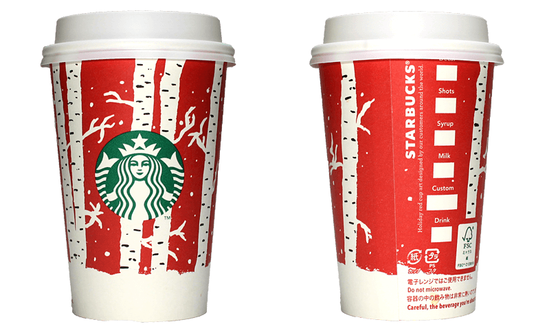 Starbucks Coffee 2016年ホリデーシーズン限定レッドカップ Birch Forest「樺の林」(United States)のテイクアウト用コーヒーカップ
