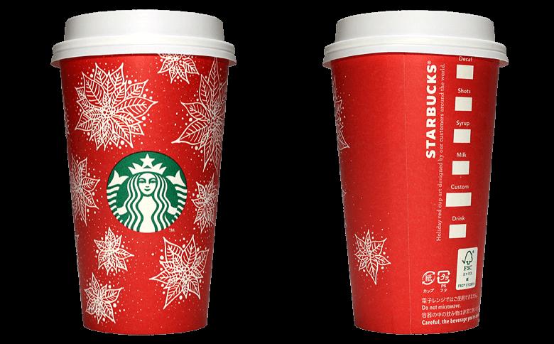 Starbucks Coffee 2016年ホリデーシーズン限定レッドカップ Poinsettia「ポインセチア」(United States)のテイクアウト用コーヒーカップ