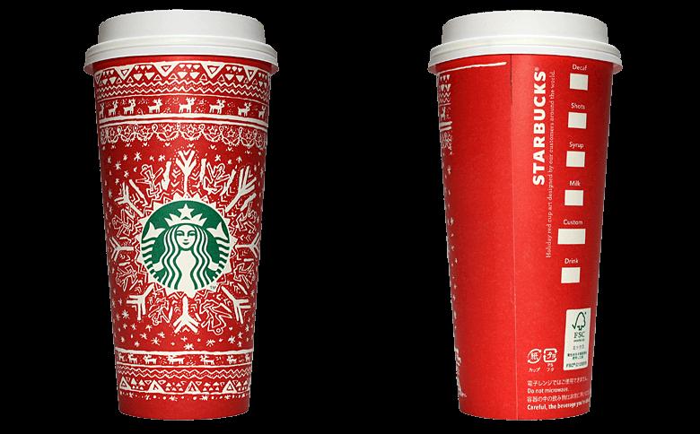 Starbucks Coffee 2016年ホリデーシーズン限定レッドカップ Snowflake Sweater「雪の結晶」(Russia)のテイクアウト用コーヒーカップ