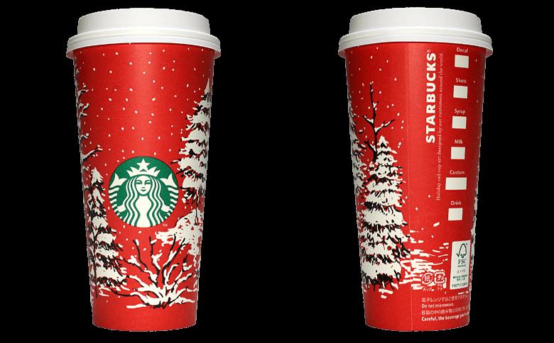 Starbucks Coffee 2016年ホリデーシーズン限定レッドカップ Evergreen Forest「常緑樹林」(United States)のテイクアウト用コーヒーカップ