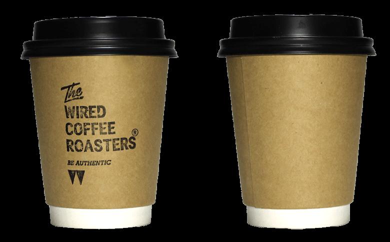The WIRED COFFEE ROASTERS(ワイアード コーヒー ロースターズ)のテイクアウト用コーヒーカップ