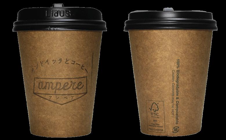 ampere(アンペア)のテイクアウト用コーヒーカップ