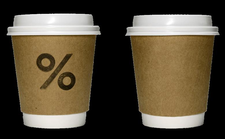 % Arabica(アラビカ)のテイクアウト用コーヒーカップ