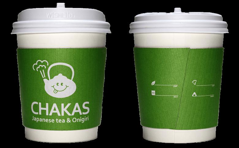 CHAKAS Japanese tea & Onigiri (チャカスジャパニーズティーアンドオニギリ)のテイクアウト用コーヒーカップ