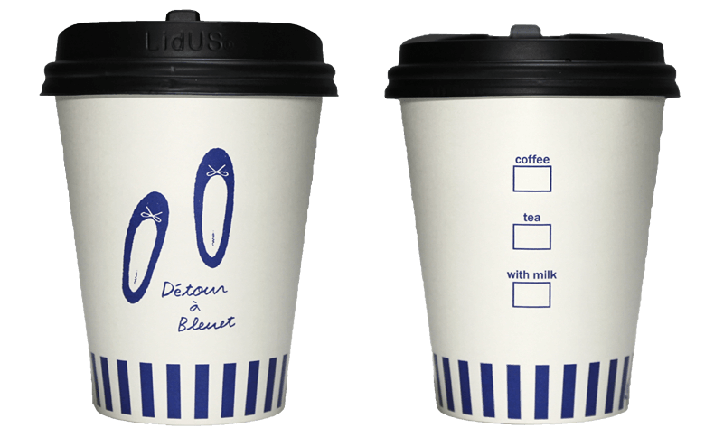 Détour à Bleuet(デトールアブルーエ)のテイクアウト用コーヒーカップ