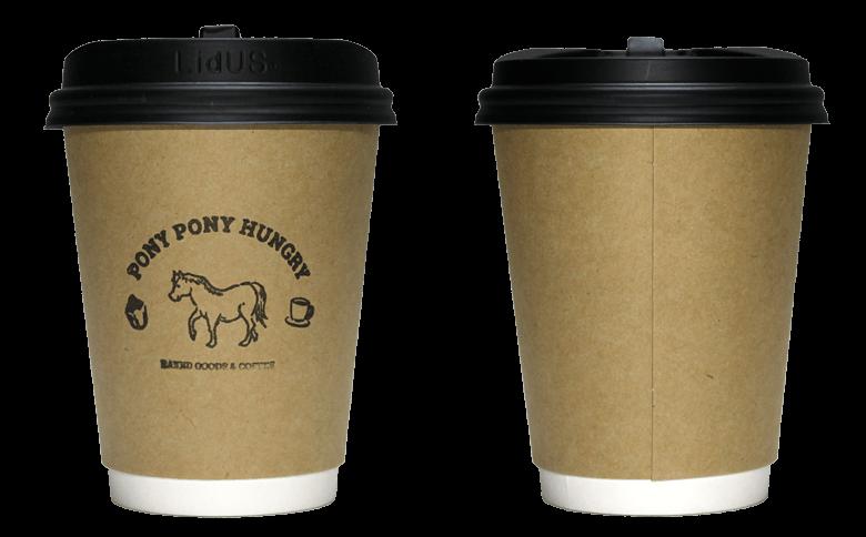 PONY PONY HUNGRY(ポニー ポニー ハングリー)のテイクアウト用コーヒーカップ