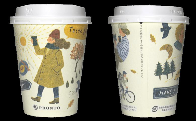 PRONTO あさのラテ(くのまりデザイン)のテイクアウト用コーヒーカップ