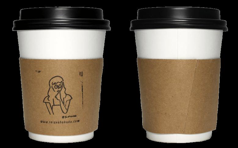 リラックス食堂のテイクアウト用コーヒーカップ