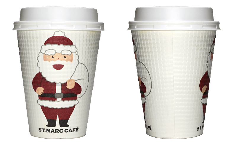 サンマルクカフェ 2018年クリスマス限定(笑顔)のテイクアウト用コーヒーカップ