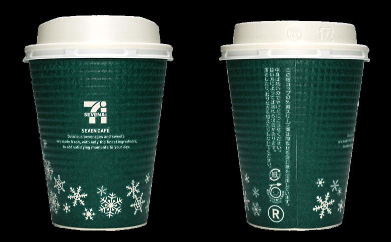 セブンイレブン セブンカフェ 2015年クリスマス限定(グリーン)のテイクアウト用コーヒーカップ