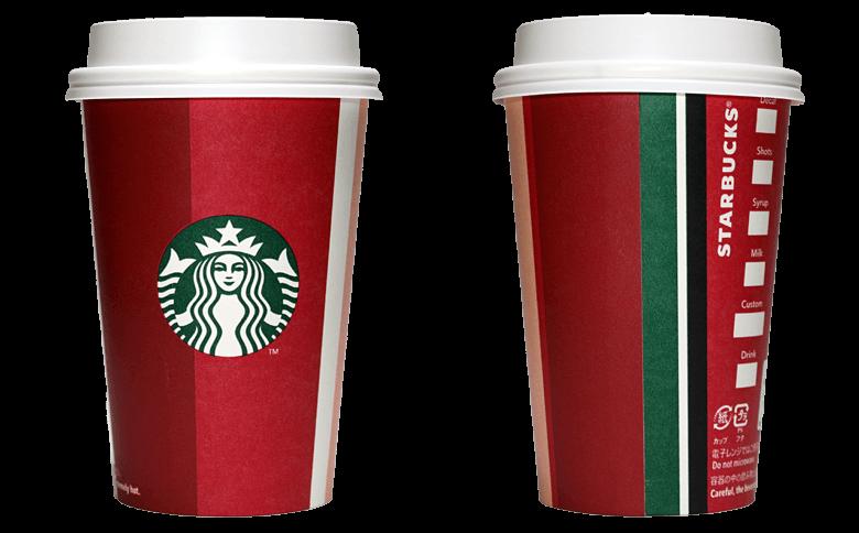 Starbucks Coffee 2018年ホリデーシーズン限定 ホリデーストライプのテイクアウト用コーヒーカップ