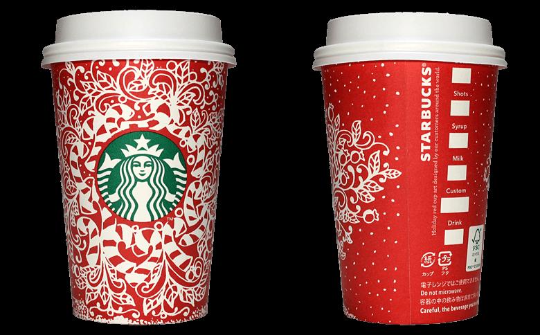 Starbucks Coffee 2016年ホリデーシーズン限定レッドカップ Candy Canes「キャンディケーン」(United States)のテイクアウト用コーヒーカップ
