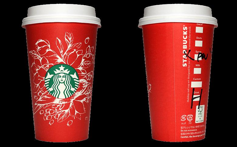 Starbucks Coffee 2016年ホリデーシーズン限定レッドカップ Birds & Flowers「鳥と花」(Indonesia)のテイクアウト用コーヒーカップ