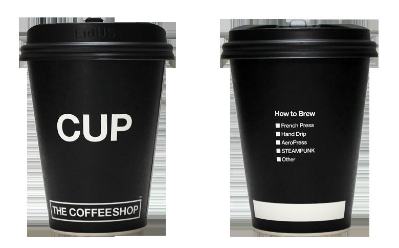 THE COFFEESHOP(ザ・コーヒーショップ)のテイクアウト用コーヒーカップ